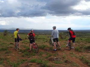a mtb ride in the hills with views over the Rift Valley