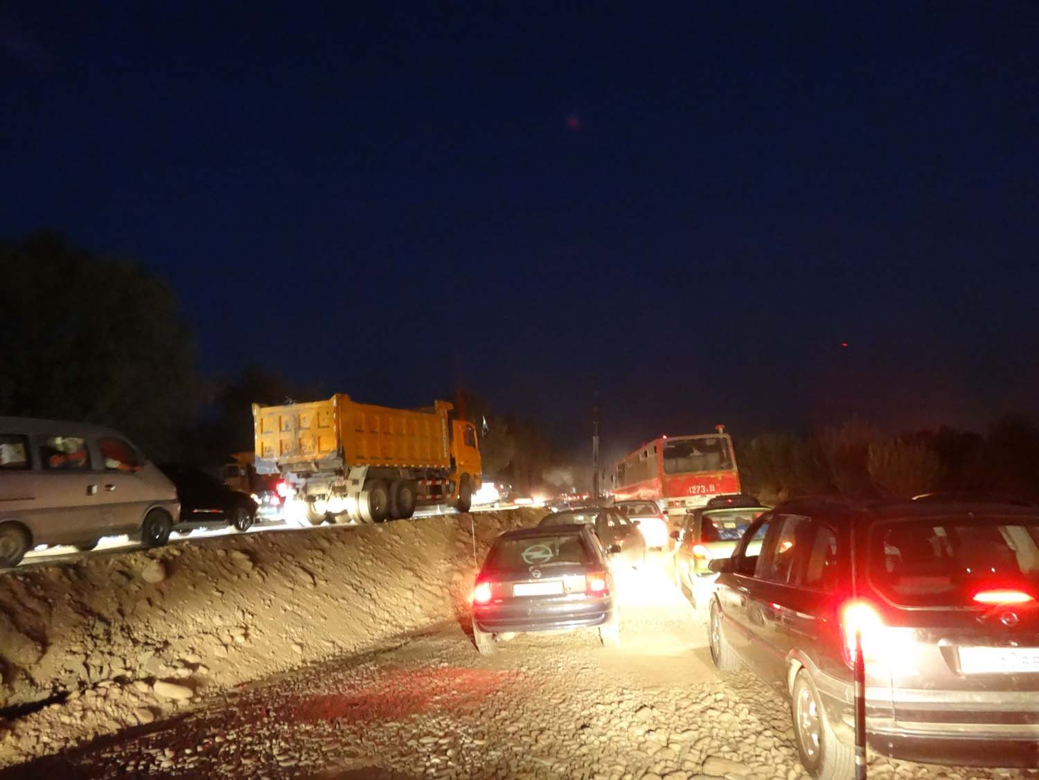 traffic jam Tajik style - it was utter chaos!