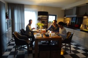 Jon, Alex and Haroz having breakfast in Den Haag