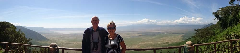 Nico and Riet in front of the Ngorongoro Crater