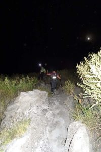 Jude on the way up in the dark, it is about 2.30am here and getting a little bit steeper