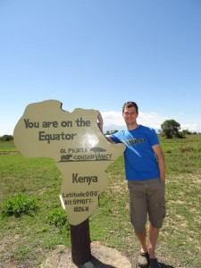 the equator - note Mt Kenya in the background