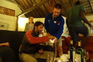 Hafiz and Gerald trying to light the 'huhuma' balls