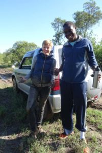 Katharina and Marcel, spot the one who did all the hard work to get the car out...