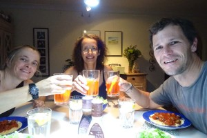 drinks and a wonderful home cooked dinner at Regine's place
