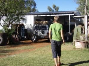Tony's backyard full of Mickey Thomson's tyres