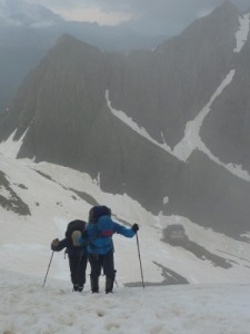 hiking with our crampons to the Breche