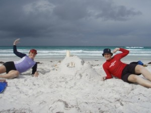 Jude and Erin build a sand castle
