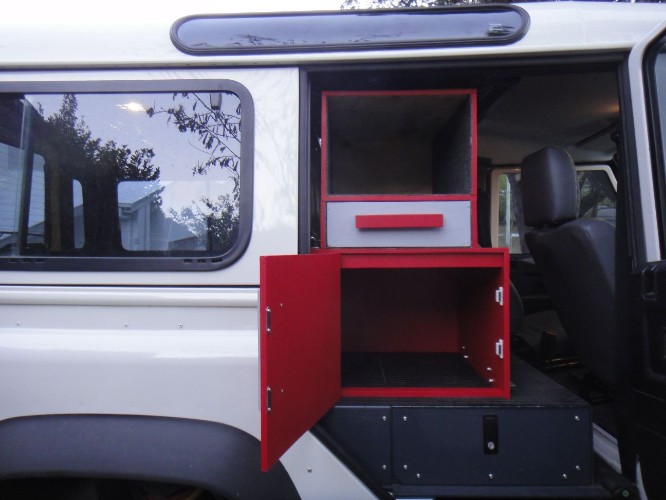 our home made cupboard - finished and in the car