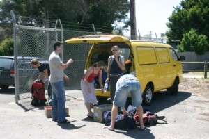 our yellow van as our support vehicle