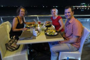 Regine, Jude and Jon having dinner at the Cape Town Fish Market