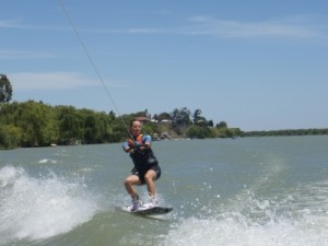 Andrea wakeboarding