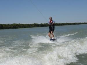 Jude wakeboarding