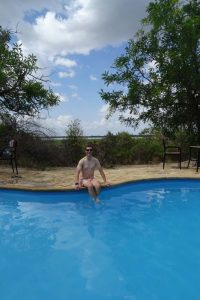 Jon about to dip in the rather cool swimming pool