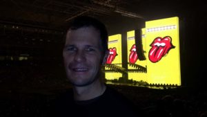 Jon waiting for the Rolling Stones to come on