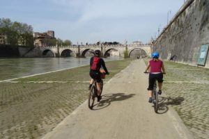 Marco and Jude at the start of our cycle tour of Rome along the river