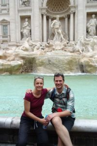 Jude and Jon at the famous Trevi Fountain