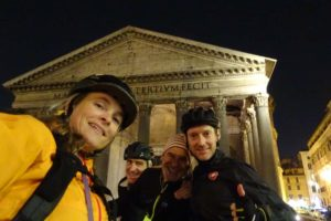 Jude, Marco, Bebo and Shane in front of the beautifully lit Pantheon