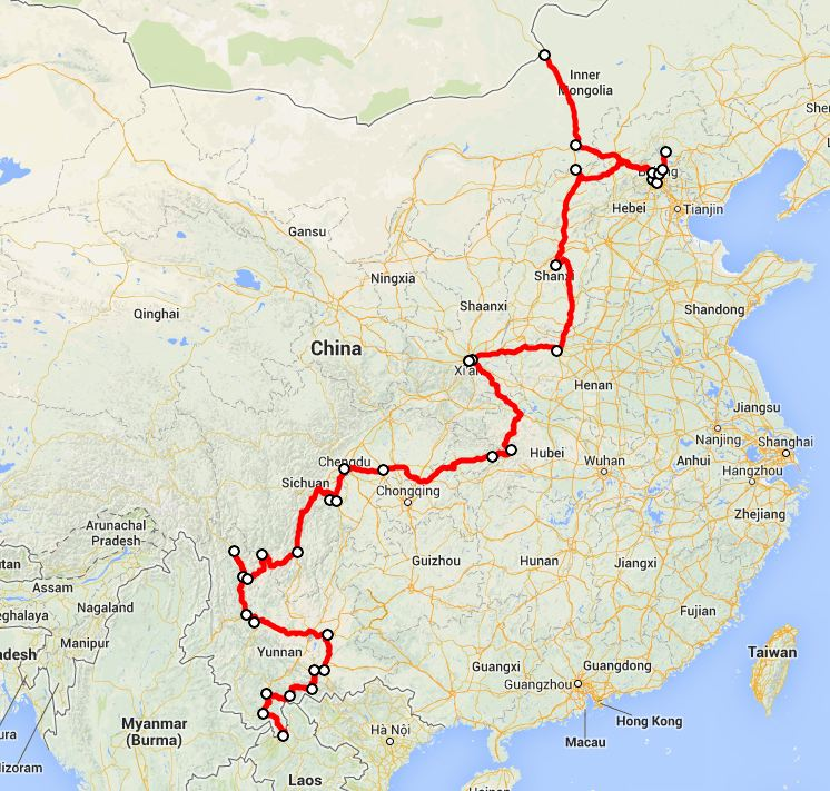 our route in China - click on this image for the interactive Google map