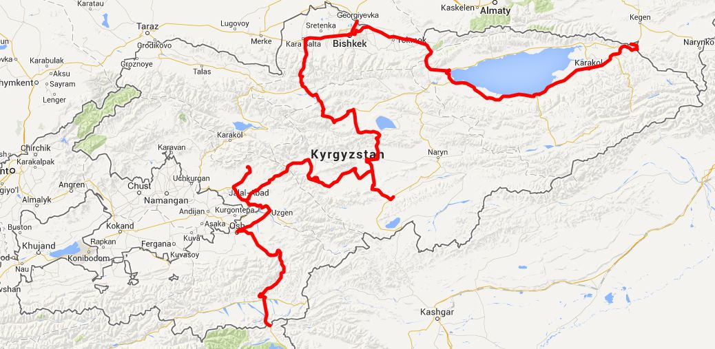 our route in Kyrgyzstan - click on this image for the interactive Google map