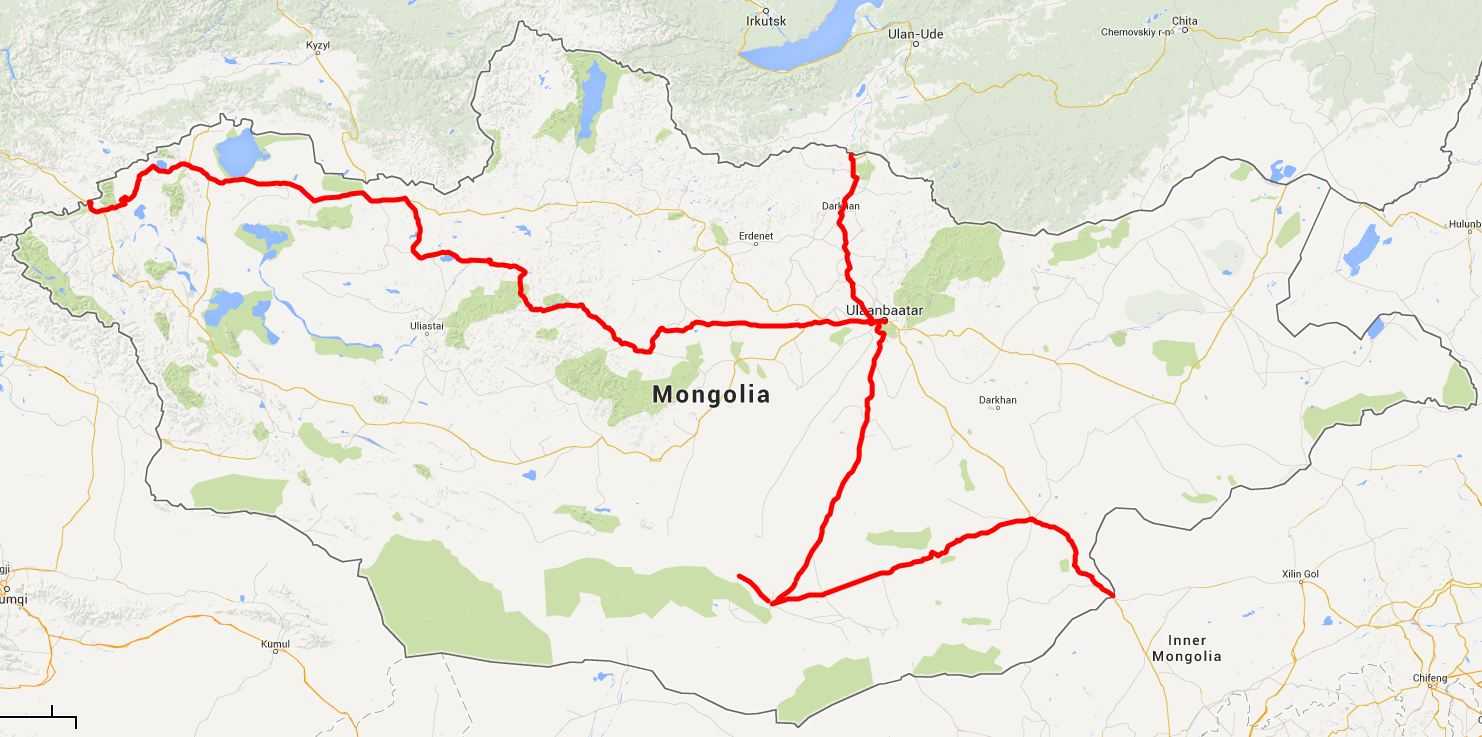 our route in Mongolia - click on this image for the interactive Google map