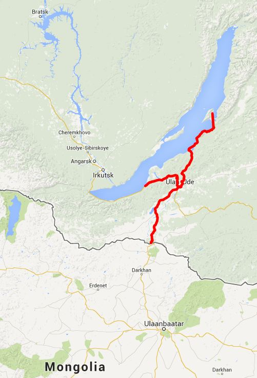 our route to Lake Baikal - click on this image for the interactive Google m