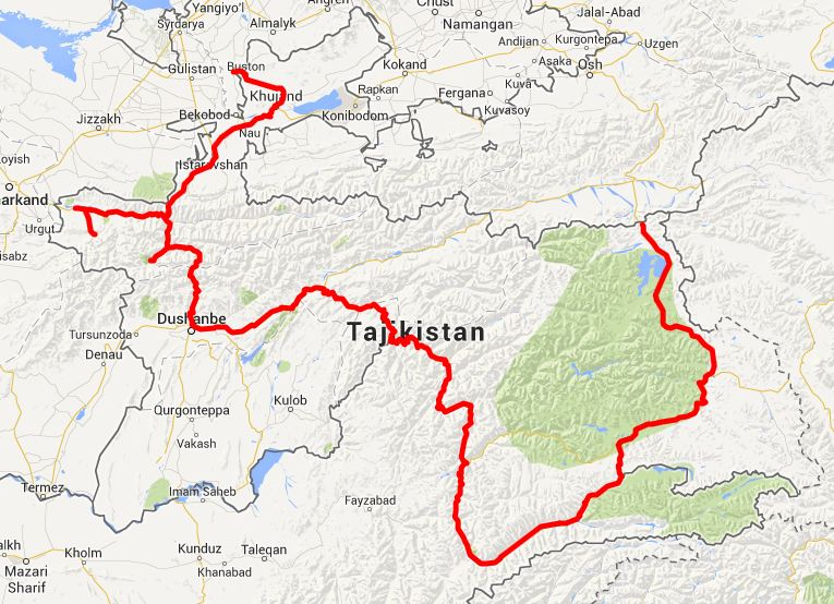our route in Tajikistan - click on this image for the interactive Google map