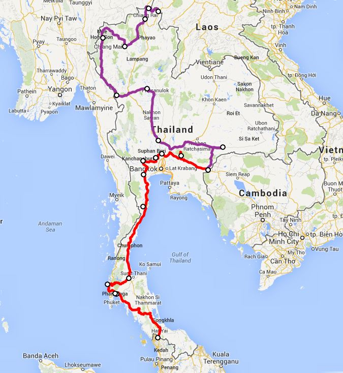 our route in Thailand- click on this image for the interactive Google map