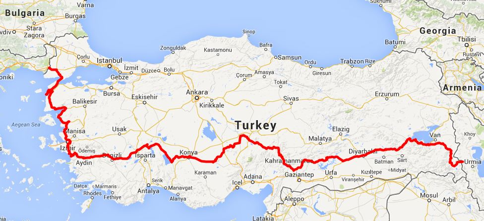 our route in Turkey - click on this image for the interactive Google map