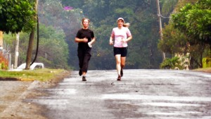Jude running with Helen in Nairobi