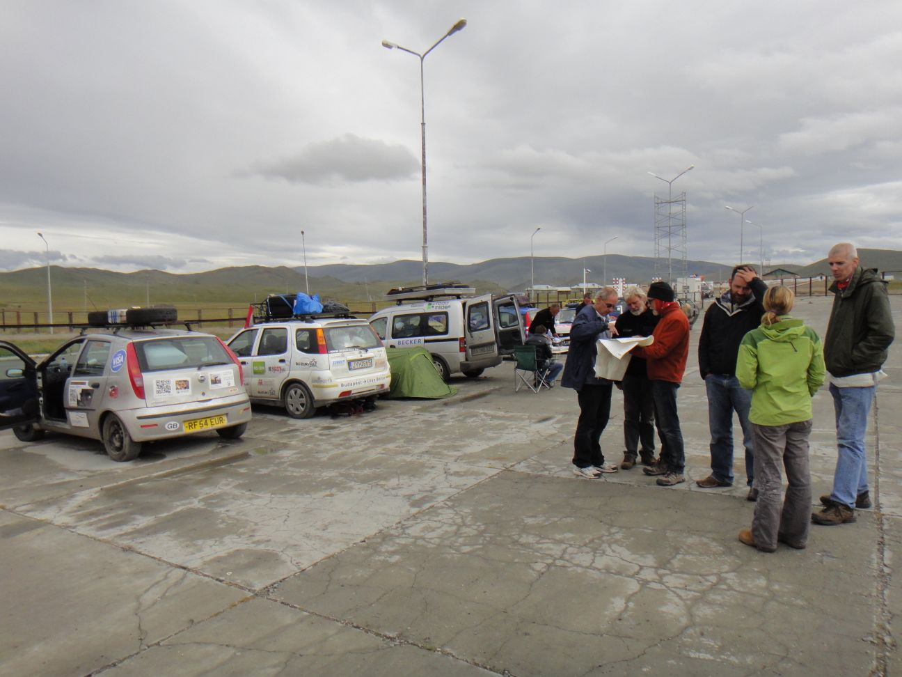 the Mongol Rally people stuck at the border