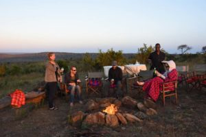 sundowners near the lodge around the campfire, the perfect end of the day
