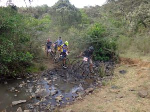 Hafiz, Eric, Marco and Danny crossing the stream again