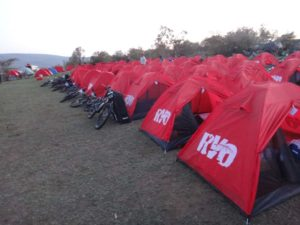 all the red tents in a row looking great