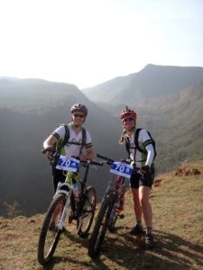 Jon and Jude on top of Mt Suswa, overlooking the inner crater, ready for day 1 of the RVO