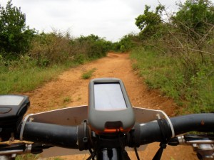 the view from the handlebars when riding an RVO - you can just see the faint outline of the tracks on the gps
