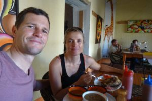 Jon and Jude having a fishy lunch in Bagamoyo