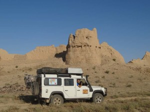 Driving past Sauran in Kazakhstan, a beautiful and deserted ancient caravan serai. We certainly enjoyed our night inside its protective walls.