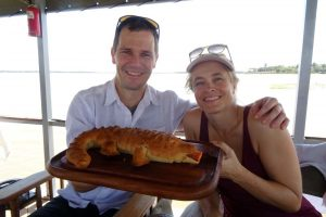 lunch on the lake accompanied by crocodile bread