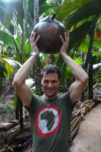 Jon and a coco de mer we found next to the path