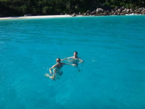 swimming off Anse Lazio