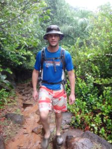 it was raining hard on our walk on Mahé to Anse Major