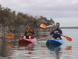 Dymph and Graham on the new kayaks
