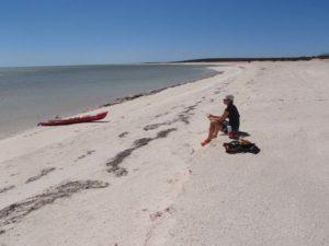 Jude having lunch on shell beach
