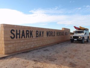 Lara at the Shark Bay world heritage sign