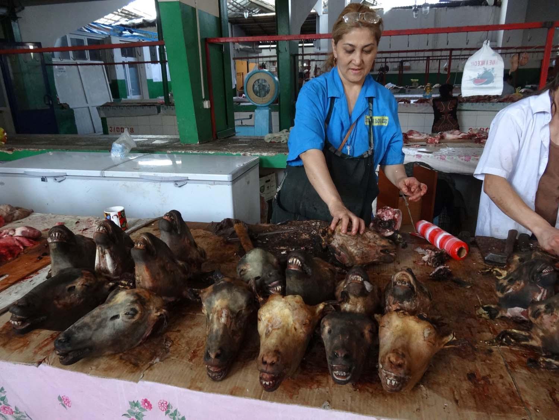 the meat area in the Shymkent bazaar