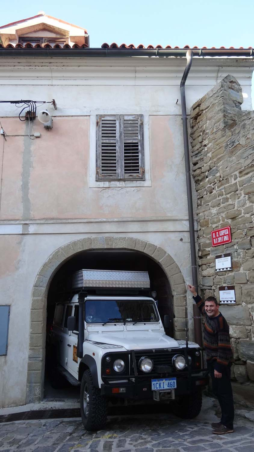 She fits! Lara was treated to a couple of nights indoors in the parish house in Piran