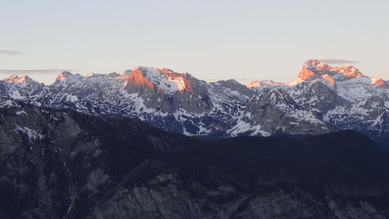 sunset over mount Triglav, Slovenia's highest point in the beautiful Julian Alps.