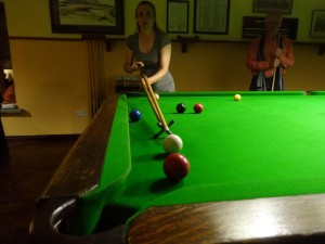Jude playing snooker (yes it went in :-))