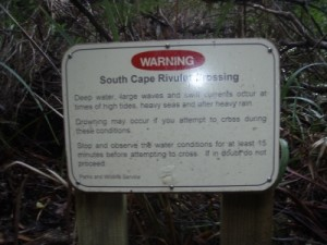 the South Cape Rivulet crossing gets pretty hairy at times